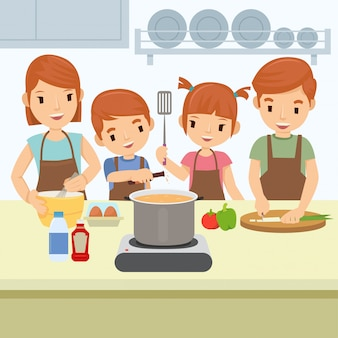 De gelukkige familie kookt in keuken op zondagochtend