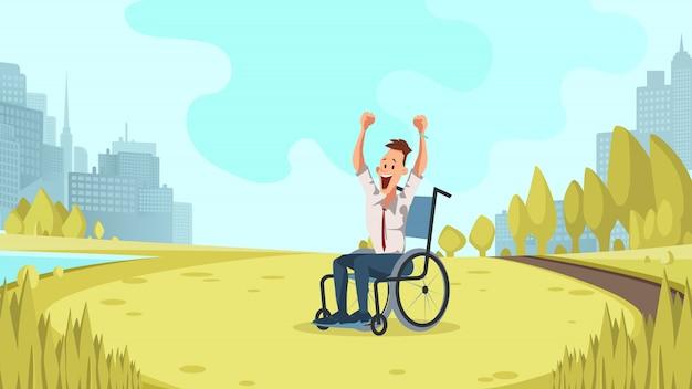 De gelukkige gehandicapte arbeider juicht in groen stadspark toe