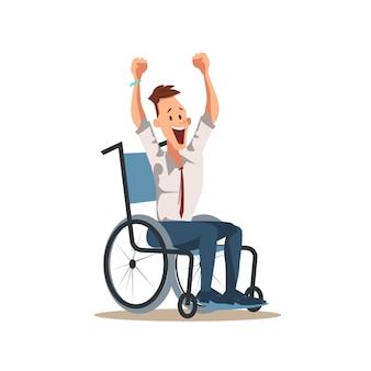 De gelukkige gehandicapte mannelijke arbeider juicht met omhoog hand toe