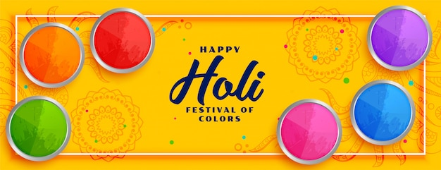 De gelukkige gele banner van het holi kleurrijke festival