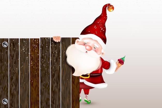 De gelukkige glimlachende kerstman die zich achter een leeg teken bevindt, dat een groot ltht leeg teken toont. kerstkaart. symbool van de geboorte van christus. vrolijk kerstfeest.