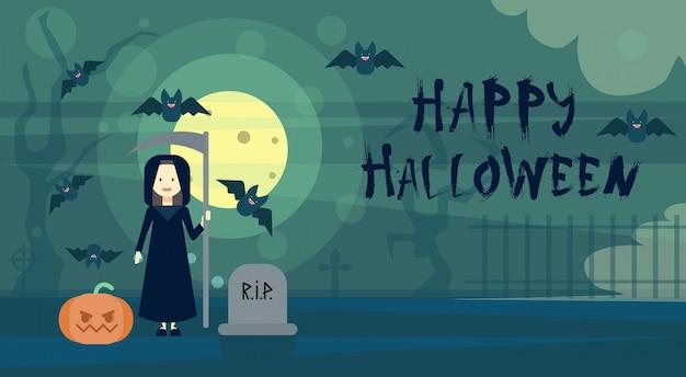 De gelukkige halloween-dood van de groetkaart bij nacht op begraafplaatskerkhof met pompoen