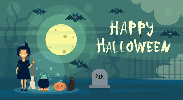 De gelukkige halloween-heks van de groetkaart bij nacht op begraafplaatskerkhof met pompoen