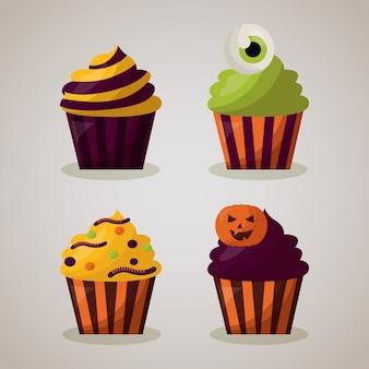 De gelukkige halloween-reeks van de vieringsdag cupcake