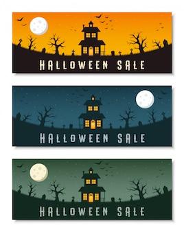 De gelukkige halloween-reeks van het bedrijfsbannermalplaatje