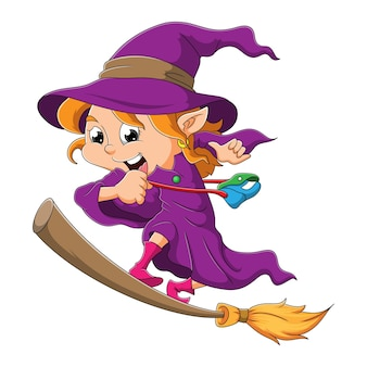De gelukkige heks staat in de magische bezem van illustratie