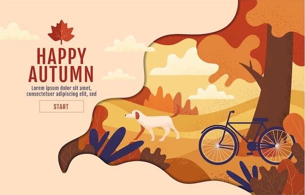 De gelukkige herfst, kalligrafie, dankzegging, illustratie