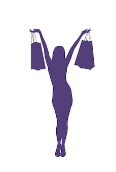 De gelukkige holding van de silhouetvrouw het winkelen zakken isoleerde vrouwelijk verkoopconcept