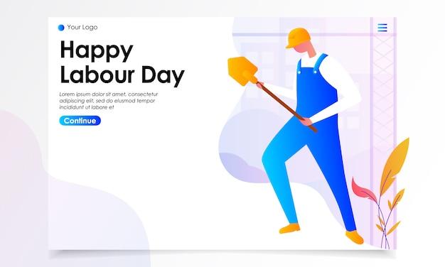 De gelukkige illustratie van de de landpagina van de arbeid dag