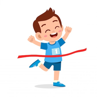 De gelukkige jong geitjejongen gaat finishlijn winnen eerste illustratie