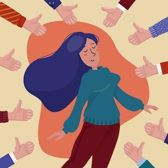 De gelukkige jonge mooie vrouw die door handen wordt omringd die tonen beduimelt omhoog gebaar, concept openbare goedkeuring, succes, verwezenlijking, en positieve terugkoppeling