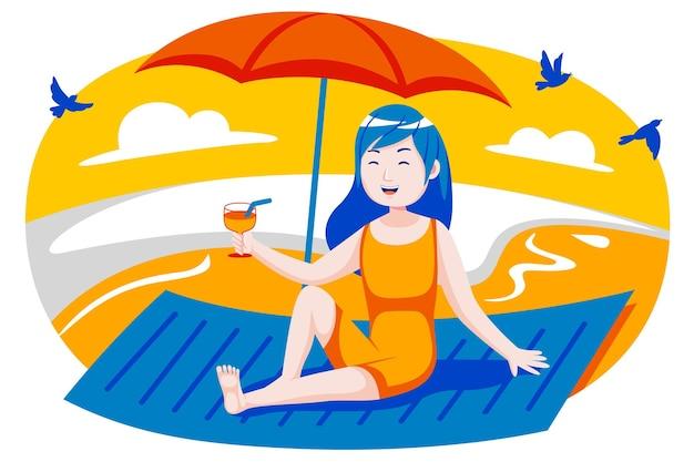 De gelukkige jonge vrouw drinkt graag op het strand.
