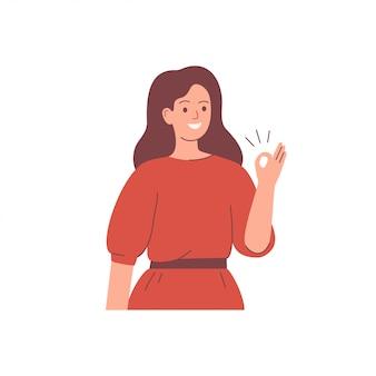 De gelukkige jonge vrouw heft haar met ok teken op. presentatie concept. karakter vectorillustratie.