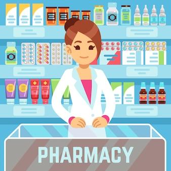 De gelukkige jonge vrouwenapotheker verkoopt medicijnen in apotheekbinnenland