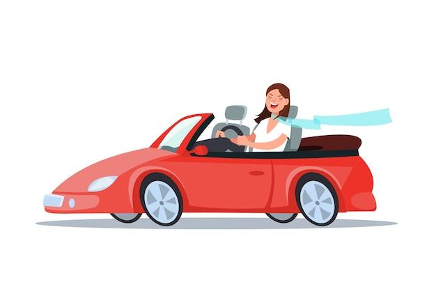 De gelukkige jonge zitting van de vrouwenbestuurder rijdt in zijn rode auto. reis met de auto.