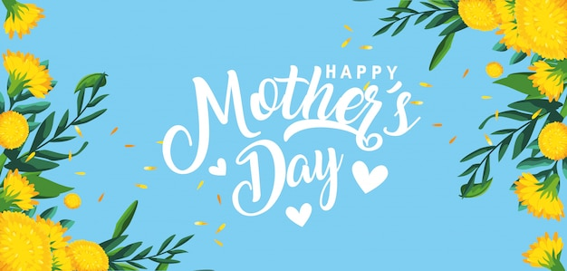 De gelukkige kaart van de moederdag met bloemendecoratie