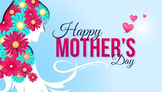 De gelukkige kaart van de moederdaggroet met bloemen en harten
