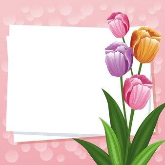 De gelukkige kaart van de moedersdag bloeit leeg ornament