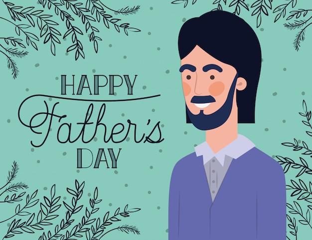 De gelukkige kaart van de vadersdag met papa en doorbladert installatiedecoratie