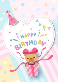 De gelukkige kaart van de verjaardagsgroet met beer in huidig vakje op de pastelkleur van het hartkader