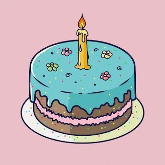De gelukkige kaart van het verjaardagsverjaardag met cupcake en één kaars in heldere ontwerpstijl