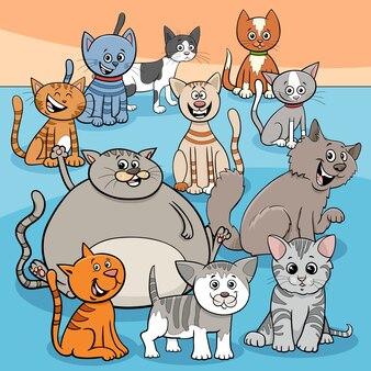 De gelukkige katten groeperen beeldverhaalillustratie