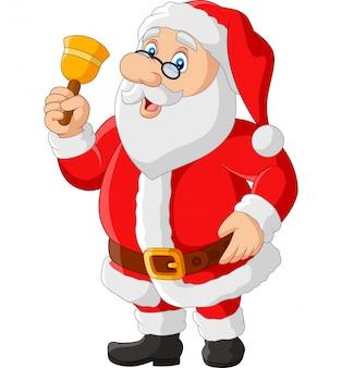De gelukkige kerstman die in glazen klok houdt