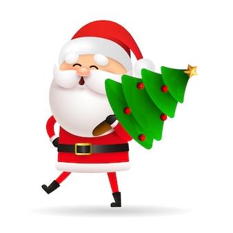 De gelukkige kerstman die kerstmisboom draagt
