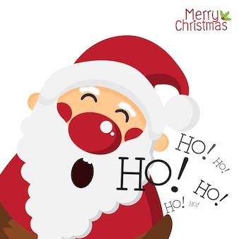 De gelukkige kerstman en het lachen ho ho op wit geïsoleerde achtergrond