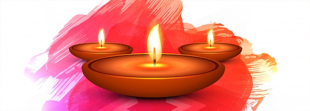 De gelukkige kleurrijke banner of de kopbal van het diwalifestival