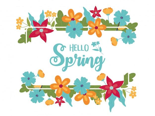 De gelukkige lente bloeit de bloemenviering van de groetkaart