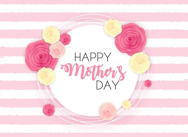 De gelukkige leuke achtergrond van de moeder` s dag met bloemen.