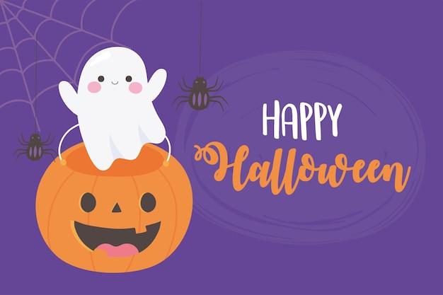 De gelukkige leuke illustratie van spookpompoen gevormde emmer spinnen