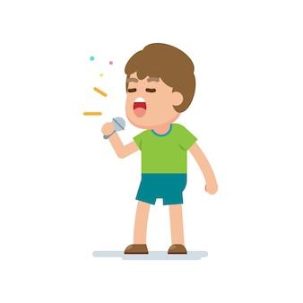 De gelukkige leuke jongen zingt een lied