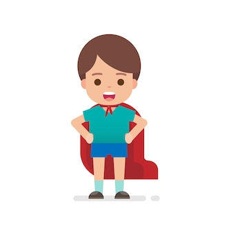 De gelukkige leuke kleding van de jongenskleding omhoog superhero