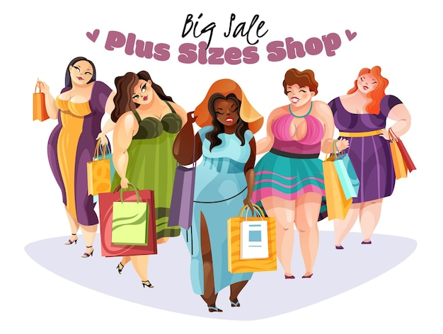 De gelukkige mollige vrouwen met aankopen na grote maten winkelen met grote vlakke verkoop
