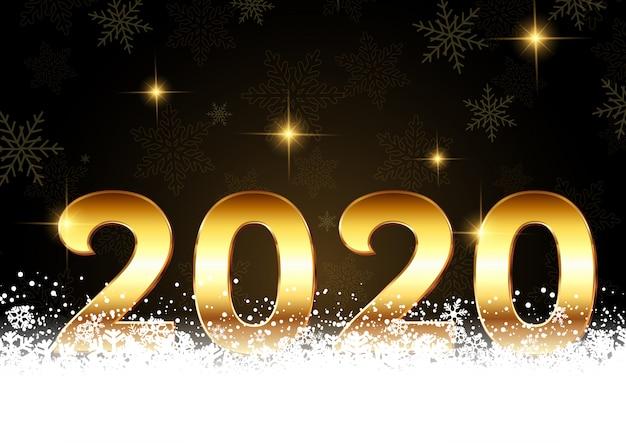 De gelukkige nieuwjaarachtergrond met gouden aantallen nestelde zich in sneeuw