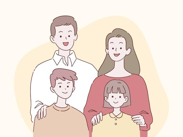 De gelukkige ouders en de kinderen glimlachen samen, familieconcept, hand-drawn stijlillustratie.