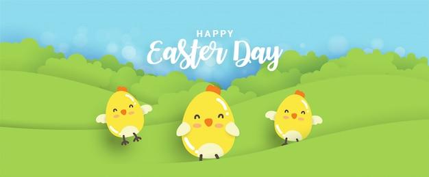 De gelukkige paasdag met kleine kippen in document sneed stijl.