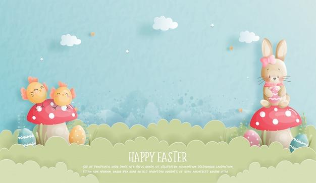 De gelukkige pasen-banner met leuke konijntje en estereieren in document sneed stijlillustratie.