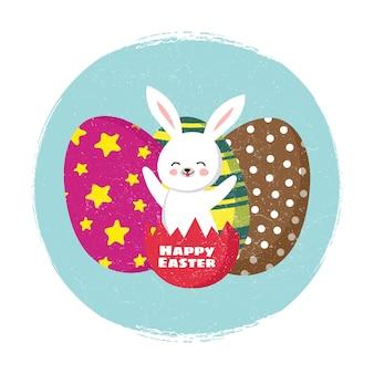 De gelukkige pasen-vector van de groetkaart met beeldverhaalkonijntje en kleurende eieren