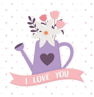 De gelukkige purpere gieter van de valentijnskaartendag met bloemen houd ik van u lintdecoratie