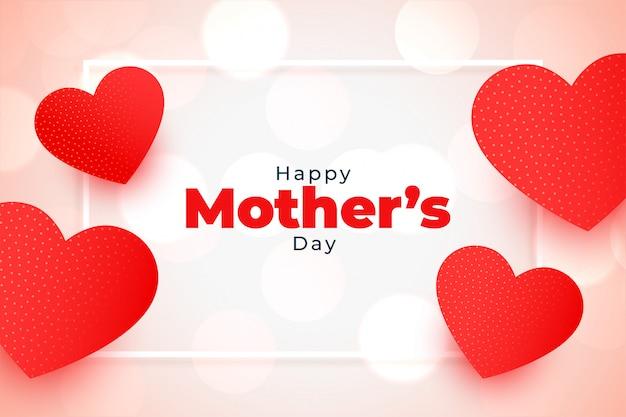 De gelukkige rode harten die van de moedersdag achtergrond begroeten