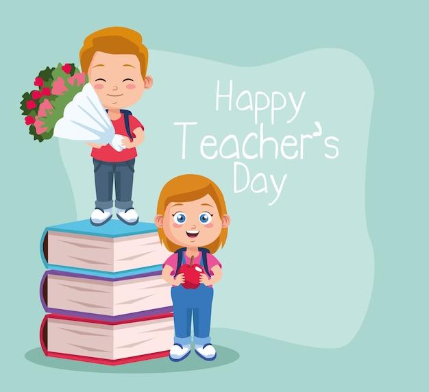 De gelukkige scène van de lerarendag met studentenpaar en boeken.