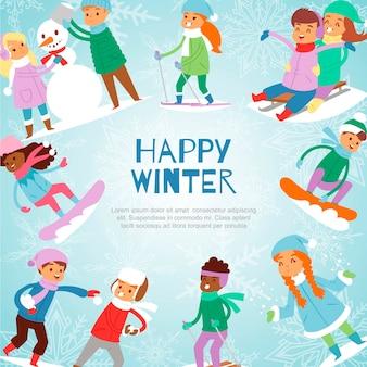 De gelukkige spelen van de winterjonge geitjes openlucht met sneeuwillustratie.