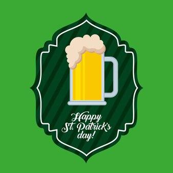 De gelukkige st van het de dag groene etiket van patrick patrick koude het bierdrank