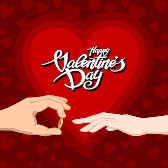 De gelukkige tekst van de valentijnskaartendag met twee handen ring het kleden zich gift.