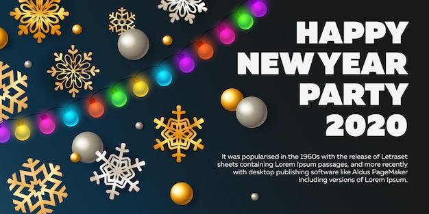 De gelukkige uitnodiging van de nieuwjaarpartij met lichten