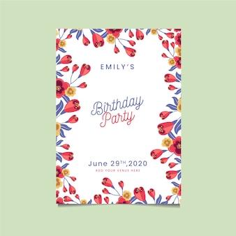 De gelukkige uitnodiging van de verjaardagspartij met bloemen