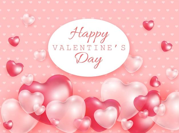 De gelukkige valentine day-giftkaart met rood en roze 3d hart vormt transparante ballons - vectorillustratie van romantisch.